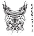 great horned owl head zentangle ...