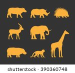 vector gold set of silhouettes... | Shutterstock .eps vector #390360748