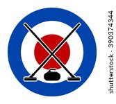 brooms and stone for curling on ... | Shutterstock .eps vector #390374344