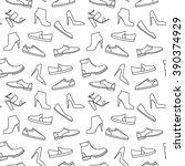 vector monochrome shoe pattern. ... | Shutterstock .eps vector #390374929