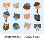 pattern cats grey background.... | Shutterstock .eps vector #390375430