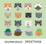 pattern cats green background.... | Shutterstock .eps vector #390375436