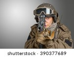 soldier aiming a rifle | Shutterstock . vector #390377689