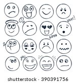 vector set of hand drawn faces  ... | Shutterstock .eps vector #390391756
