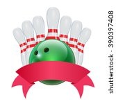 bowling red ribbon. set of... | Shutterstock .eps vector #390397408