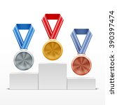 silver  gold  bronze medals on... | Shutterstock .eps vector #390397474