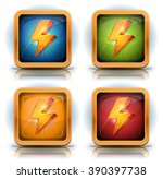 shield icons with lightning...
