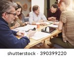 checking social media during... | Shutterstock . vector #390399220