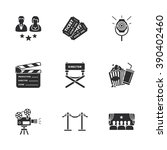 nine modern cinema icons | Shutterstock .eps vector #390402460