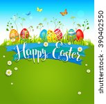 bright easter background with... | Shutterstock .eps vector #390402550