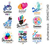 summer vacation logo. tropical... | Shutterstock .eps vector #390407140