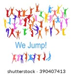 victory is ours people jumping  | Shutterstock .eps vector #390407413