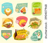 french food menu mini labels... | Shutterstock .eps vector #390407968