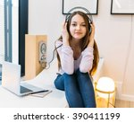 attractive young student... | Shutterstock . vector #390411199