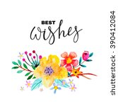 greeting card with floral... | Shutterstock .eps vector #390412084