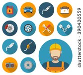car parts. set icons auto spare ... | Shutterstock .eps vector #390420559