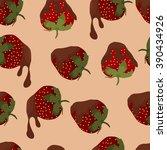 seamless pattern strawberries...   Shutterstock .eps vector #390434926