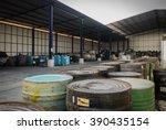 several barrels of toxic waste... | Shutterstock . vector #390435154