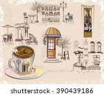 cafe background decorated with... | Shutterstock .eps vector #390439186