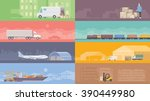 set of flat web banners on the... | Shutterstock . vector #390449980