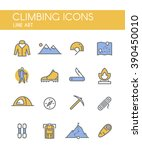 set of line icons on the theme... | Shutterstock . vector #390450010