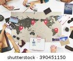 business travel meeting... | Shutterstock . vector #390451150