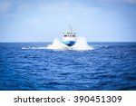 supply boat transfer cargo to... | Shutterstock . vector #390451309