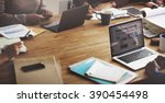 marketing team meeting... | Shutterstock . vector #390454498