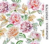 seamless pattern with flowers.... | Shutterstock . vector #390457978