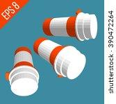set pill orange bottle. medical ...   Shutterstock .eps vector #390472264