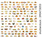 collection of delicious food...   Shutterstock .eps vector #390473053