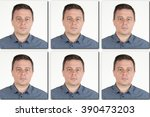 Stock photo passport picture of a serious man in a blue shirt pictures usa 390473203