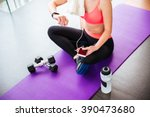 attractive young sportswoman... | Shutterstock . vector #390473680