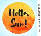 Watercolor Vector Sun With...