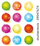 a set of glass christmas balls. ... | Shutterstock .eps vector #39047674