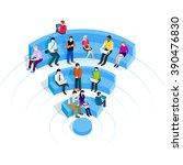 people in wi fi zone.  | Shutterstock .eps vector #390476830