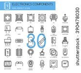 electronic components   thin... | Shutterstock .eps vector #390478030