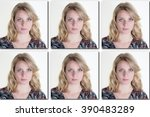 Stock photo passport picture of a woman with long blond hair usa form photos 390483289
