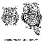 cute owls | Shutterstock .eps vector #390486994