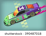 colorful fast motor racing car... | Shutterstock .eps vector #390487018
