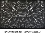 hand sketched mystical forest... | Shutterstock .eps vector #390493060