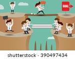 teamwork  businessmen helping... | Shutterstock .eps vector #390497434