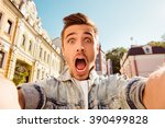 handsome man making selfie and... | Shutterstock . vector #390499828