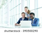 business people with laptop in... | Shutterstock . vector #390500290