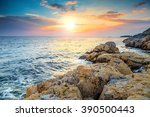 rocky coastline with magical... | Shutterstock . vector #390500443