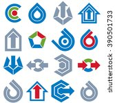 geometric abstract vector blue... | Shutterstock .eps vector #390501733
