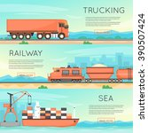 cargo transportation by road ... | Shutterstock .eps vector #390507424