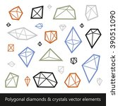 polygonal diamonds and crystals ... | Shutterstock .eps vector #390511090