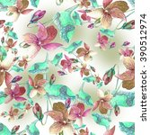 violet pansy seamless pattern. | Shutterstock . vector #390512974
