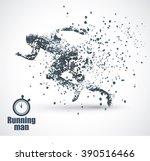 running man  particle divergent ... | Shutterstock .eps vector #390516466